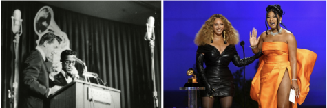 Dean Martin and Sammy Davis Jr. (left) and Beyoncé and Megan Thee Stallion (right). Image Credit: Grammy and Forbes.